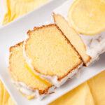 close up of sliced lemon pound cake
