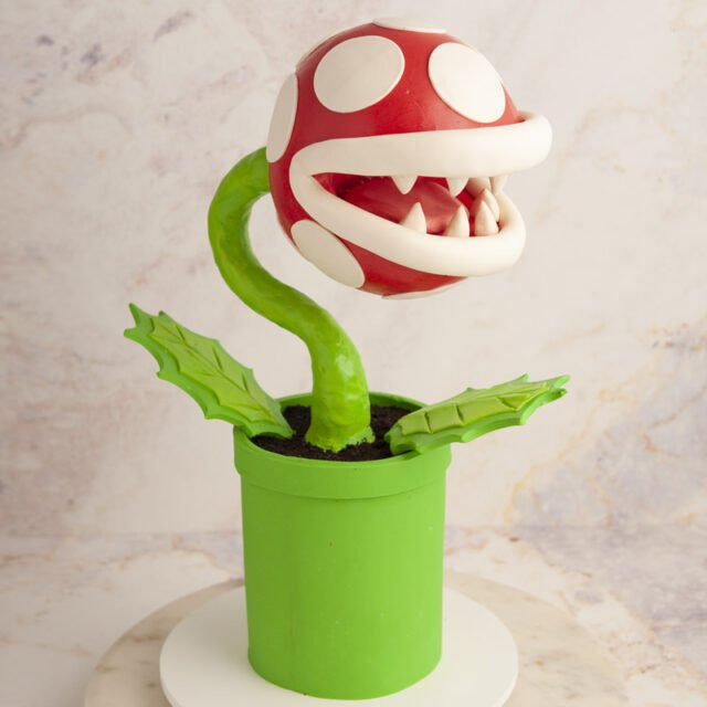 Cake sculpted to look like a piranha plant from Super Mario Brothers video game