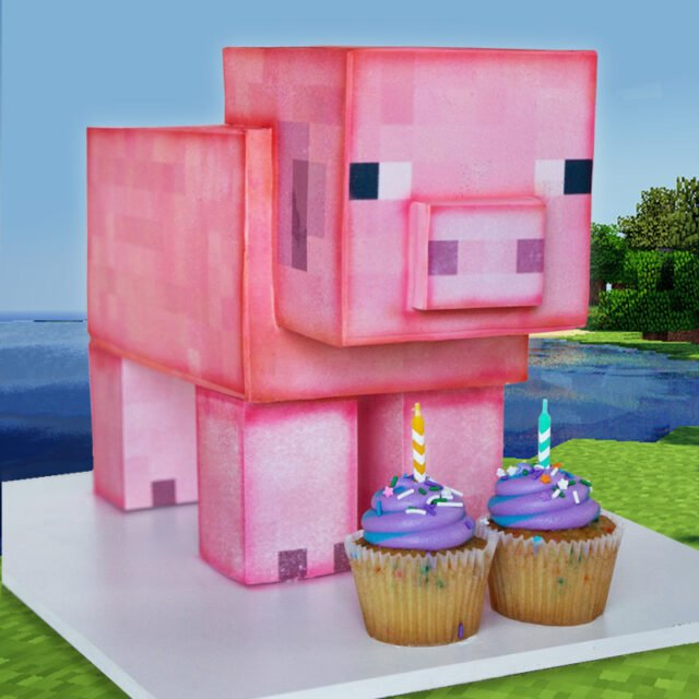 Cake sculpted to look like a Minecraft Pig character