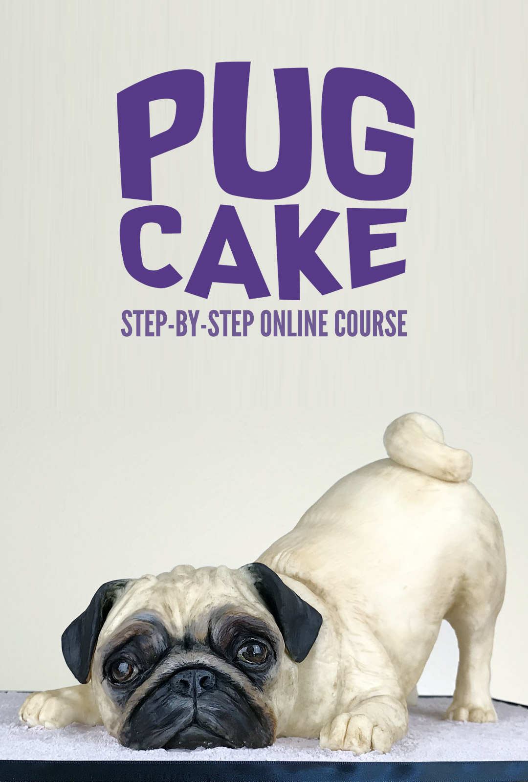 Cake sculpted to look like a realistic Pug dog