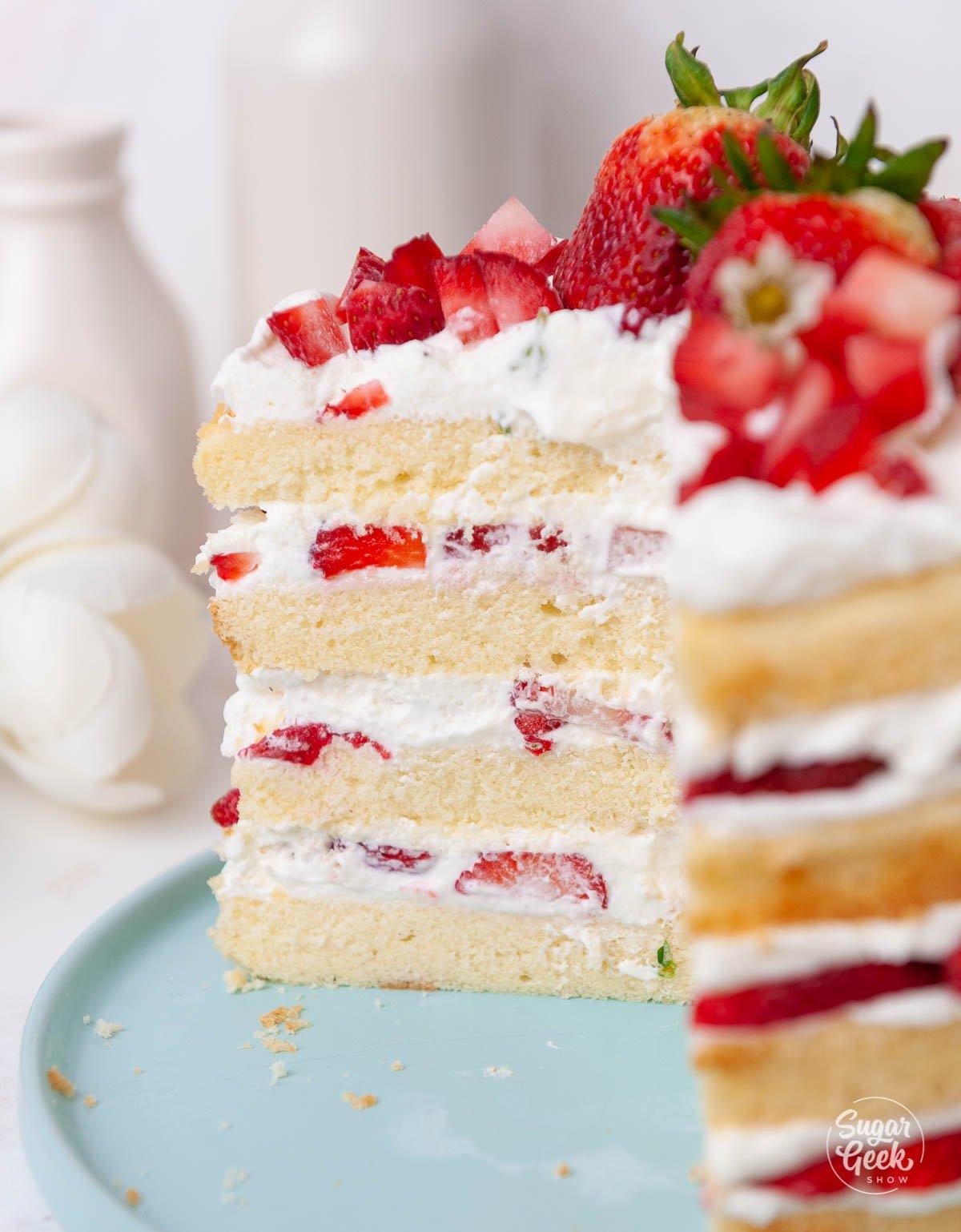 closeup of sliced strawberry shortcake cake on a blue plate