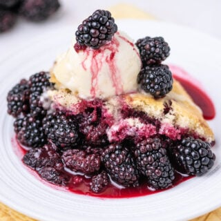 close up of blackberry sponge cake on a white plate