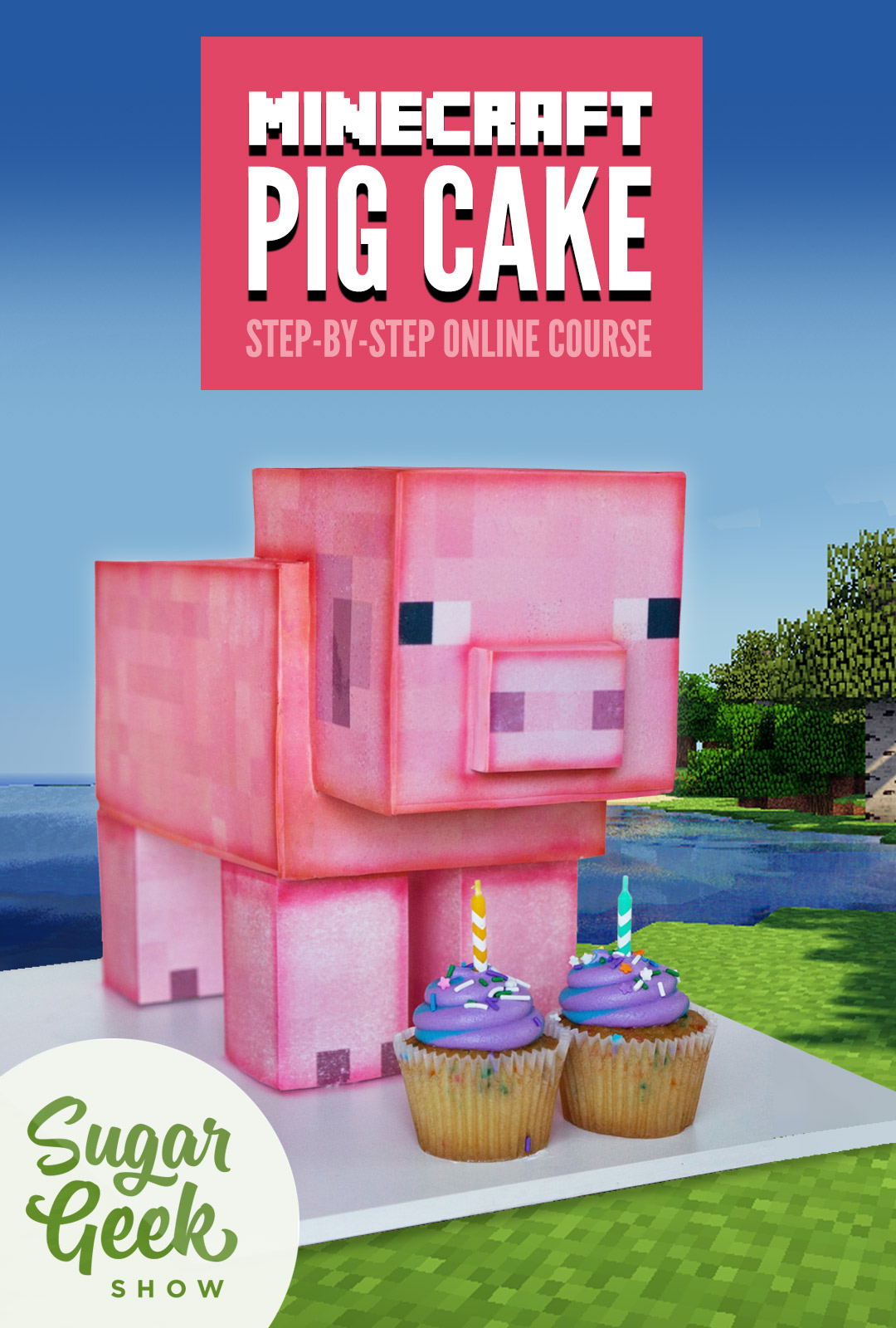 Cake sculpted to look like a pig from Minecraft the video game