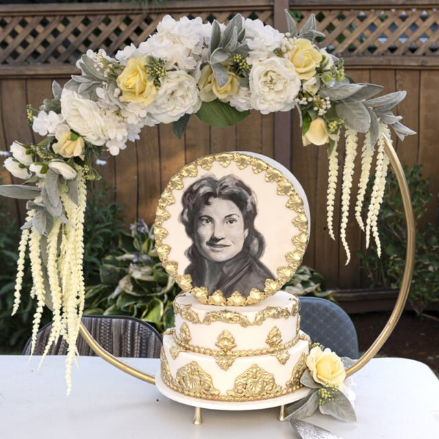 Cake with a portrait painted on it with edible paints