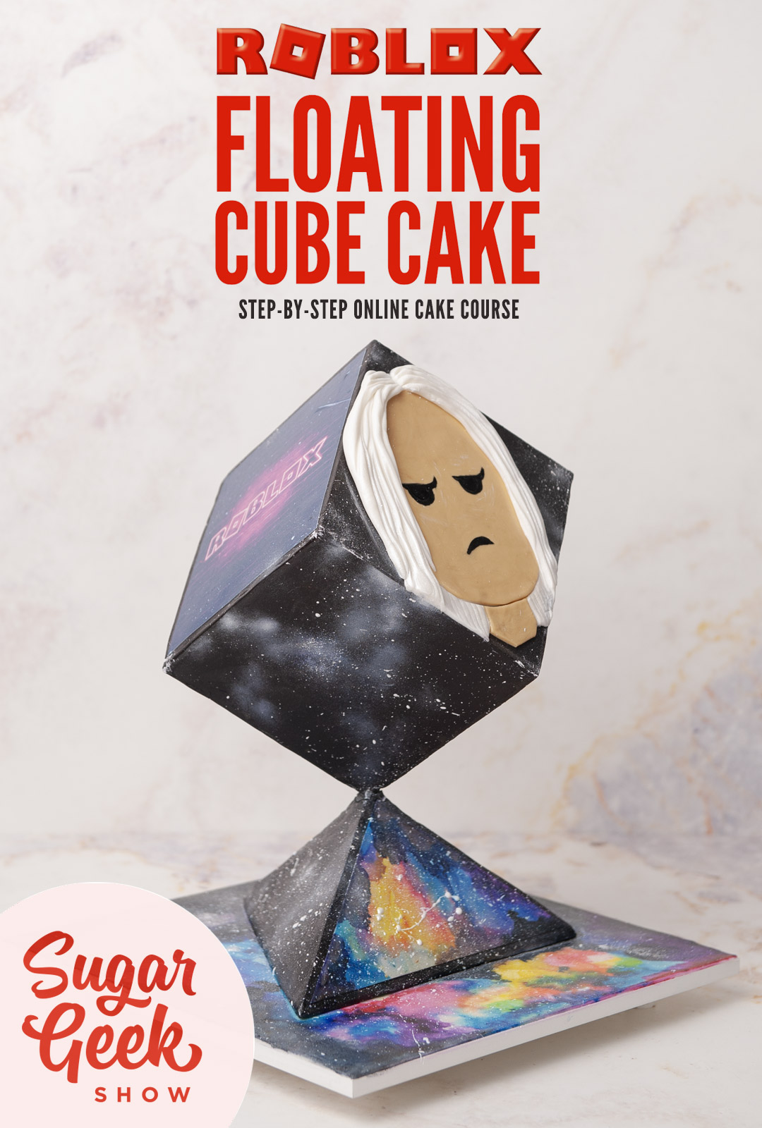 Gravity-defying cake sculpted to look like a floating cube from Roblox
