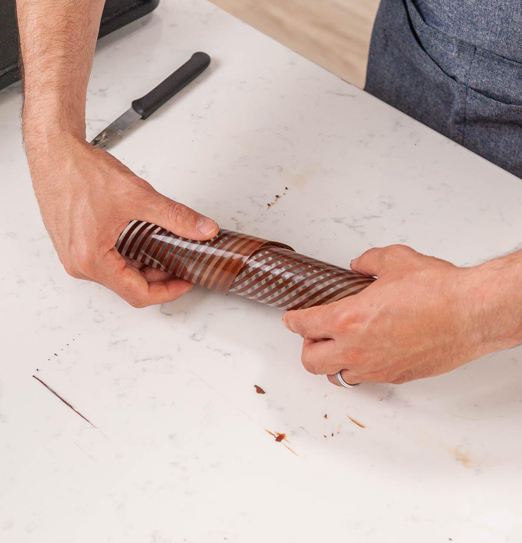 twisting chocolate on acetate