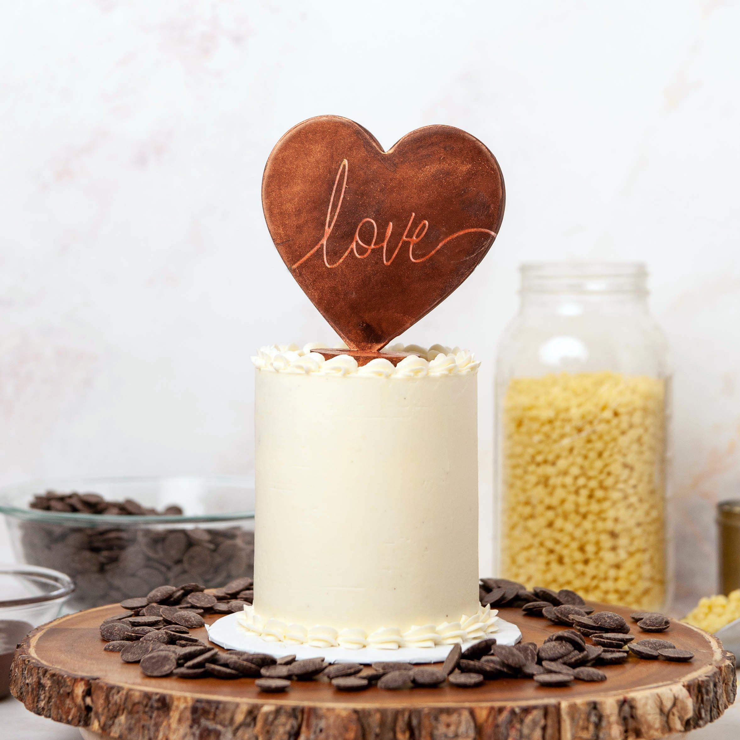 chocolate heart cake topper