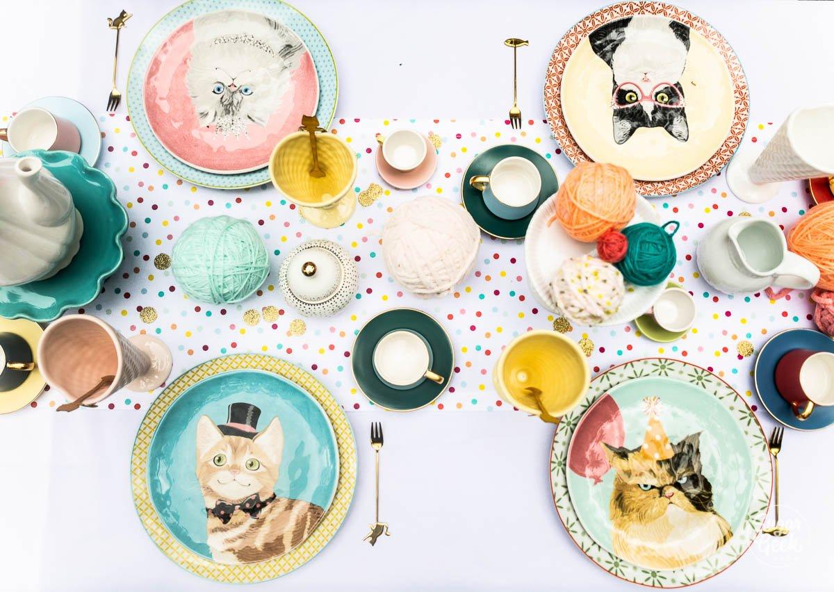 cat tea party table decorations