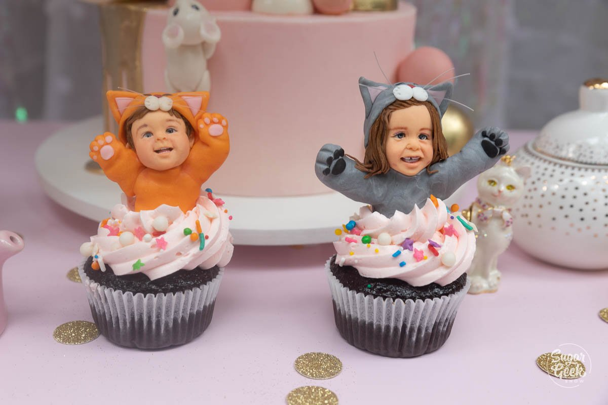 boy and girl cat cupcake toppers
