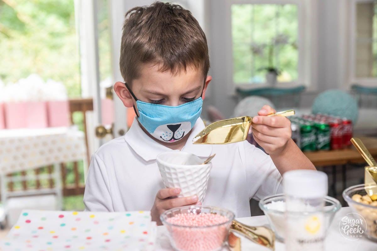 making an ice cream sundae