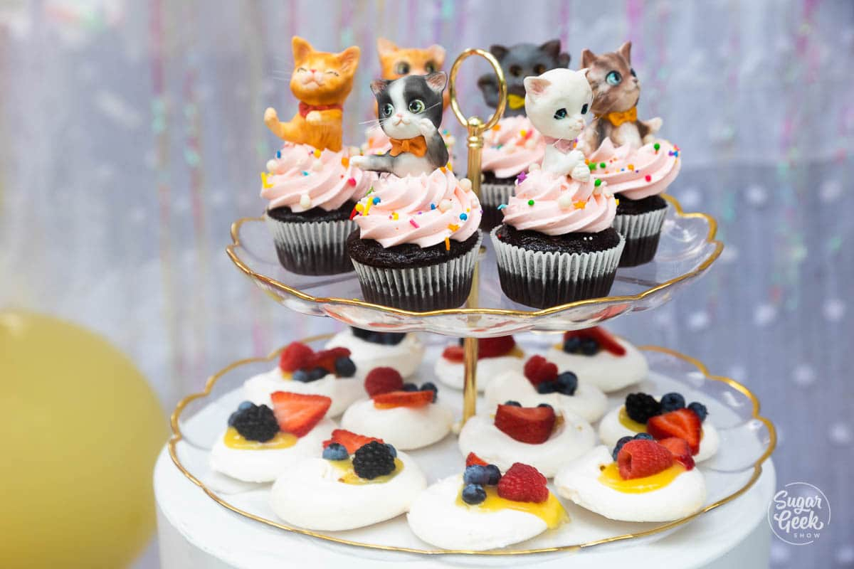 cat cupcakes and pavlova