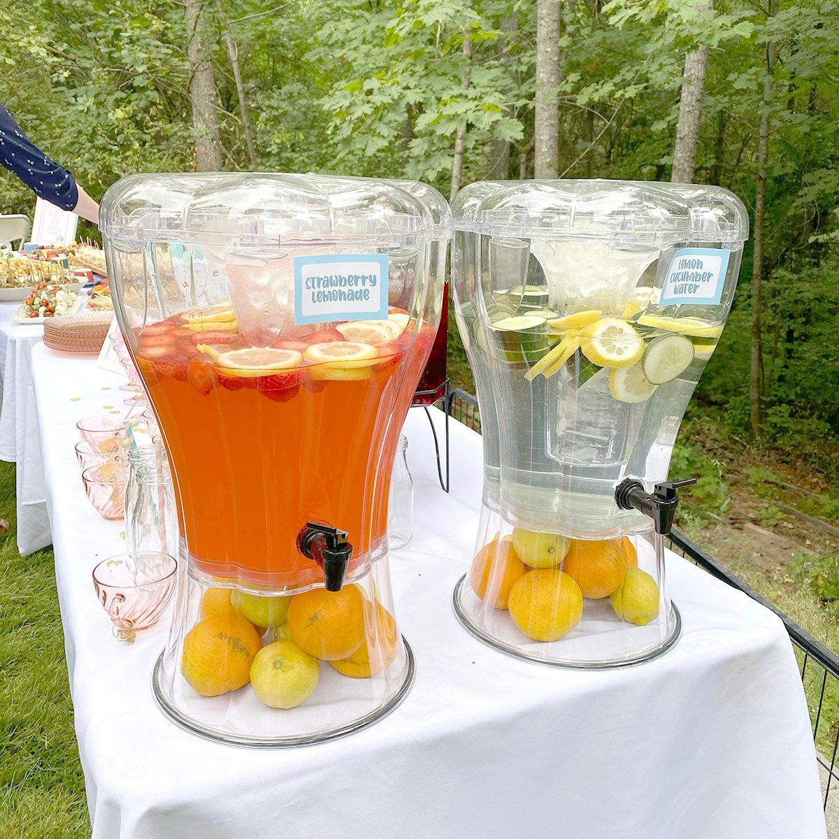 strawberry lemonade and cucumber lemon water