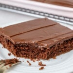 close up of a slice of chocolate sheet cake