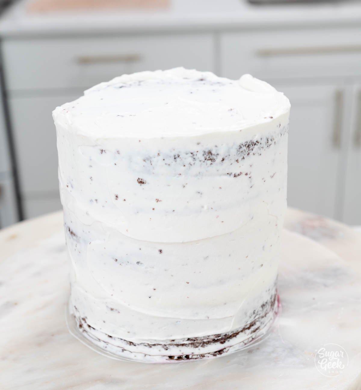 crumbcoat on genoise cake