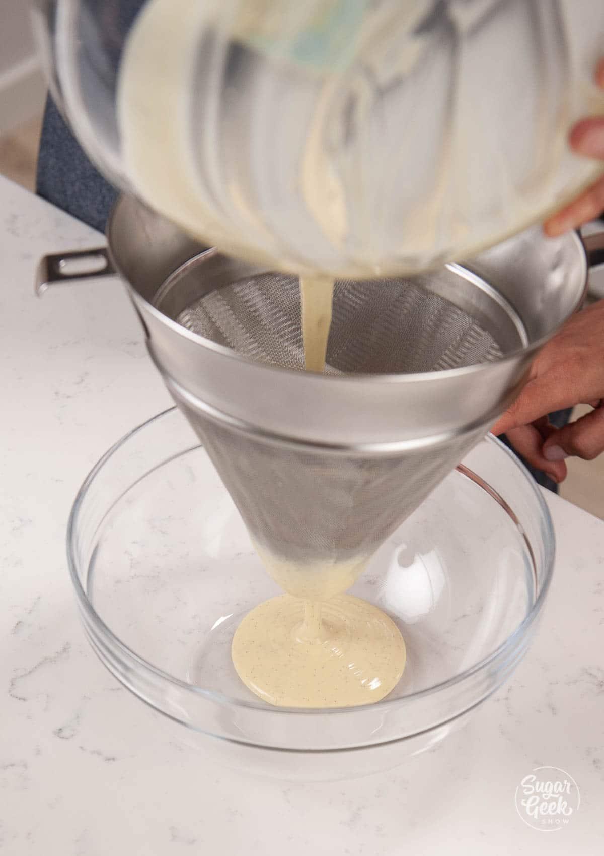 straining white chocolate