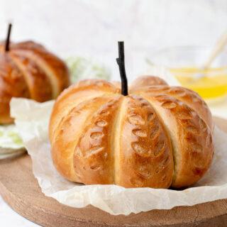 closeup of pumpkin shaped bread